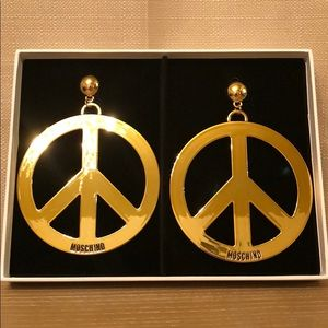 H&M x MOSCHINO Gold Plated Earrings BRAND NEW